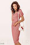 Летнее платье-миди в полоску с короткими рукавами красное, фото 2