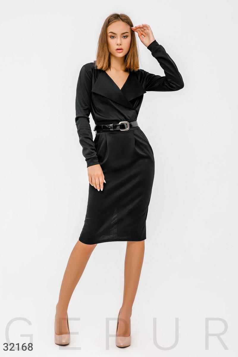 Офисное платье миди с отложным воротником черное
