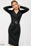 Офисное платье миди с отложным воротником черное, фото 3