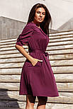 Классическое платье миди с поясом бордовое, фото 2