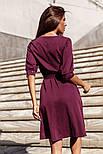 Классическое платье миди с поясом бордовое, фото 3