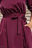 Классическое платье миди с поясом бордовое, фото 4