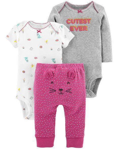 Комплект тройка Картерс (Carter's) для девочки фиолетовый серо-малиновый 18М(78-83 см)