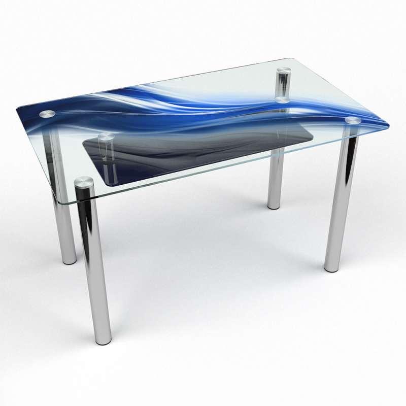 Стол кухонный стеклянный Прямоугольный с полкой Astratto 91х61 *Эко (БЦ-стол ТМ)