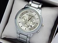 Кварцевые наручные часы Emporio Armani стального цвета с серебристым циферблатом, отображение даты, фото 1