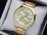Кварцевые наручные часы Emporio Armani золотого цвета, отображение даты, фото 1