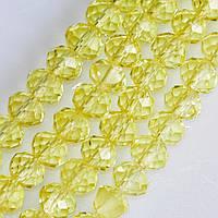 """Бусины стекло прозрачное лимонно желтый """"рондель"""" d-8х5мм нитка L-40см"""