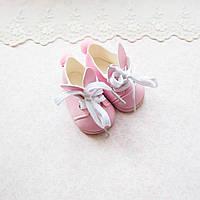 """Обувь для кукол, ботиночки розовые на шнуровке """"Зайчики"""" - 6.8*3.5 см"""
