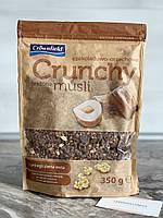 Шоколадные мюсли кранчи Crownfield c кусочками шоколада и лесным орехом 350 гр