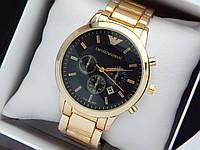 Кварцевые наручные часы Emporio Armani золотого цвета с черным циферблатом, отображение даты, фото 1