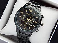 Кварцевые наручные часы Emporio Armani черного цвета, отображение даты, фото 1