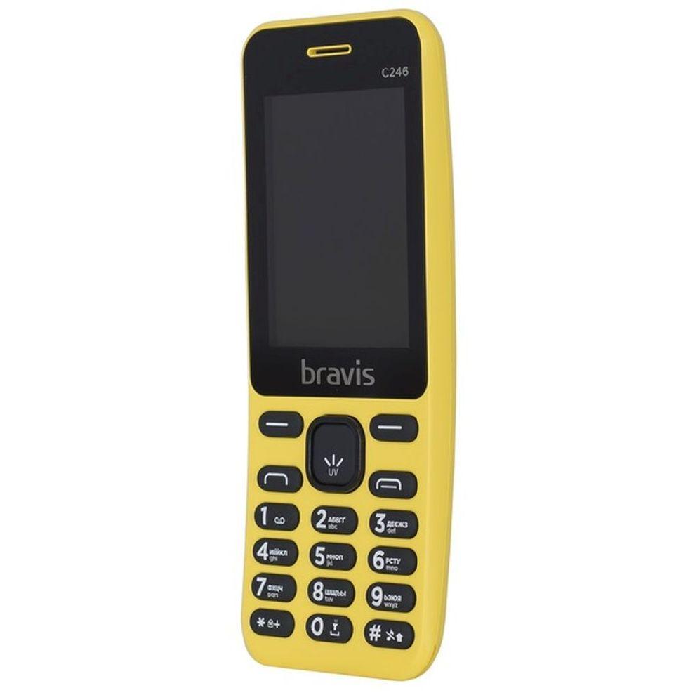 Телефон мобильный кнопочный в изогнутом корпусе бананофон на 2 сим карты Bravis C246 Fruit желтый