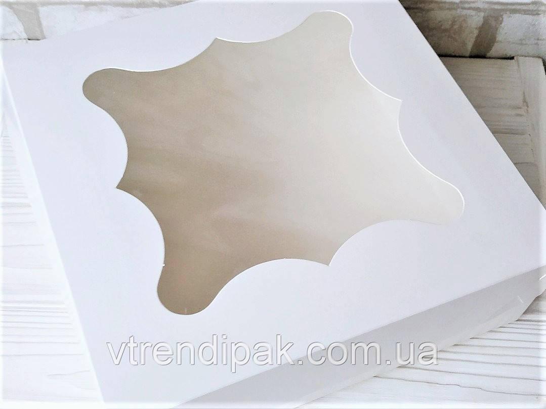 Коробка для торту, пирога з мелованого картону з вікном 260*260*90