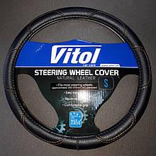 Оплетка на кермо Vitol S 35x37 см чорна прошита коричневими нитками 16113 0261 31190p
