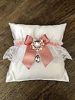 Свадебная подвязка для невесты кружевная, пудра