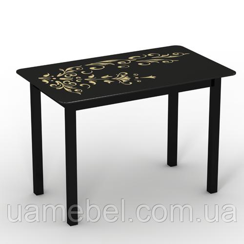 """Обеденный стеклянный стол """"Монарх Черный зефир"""""""