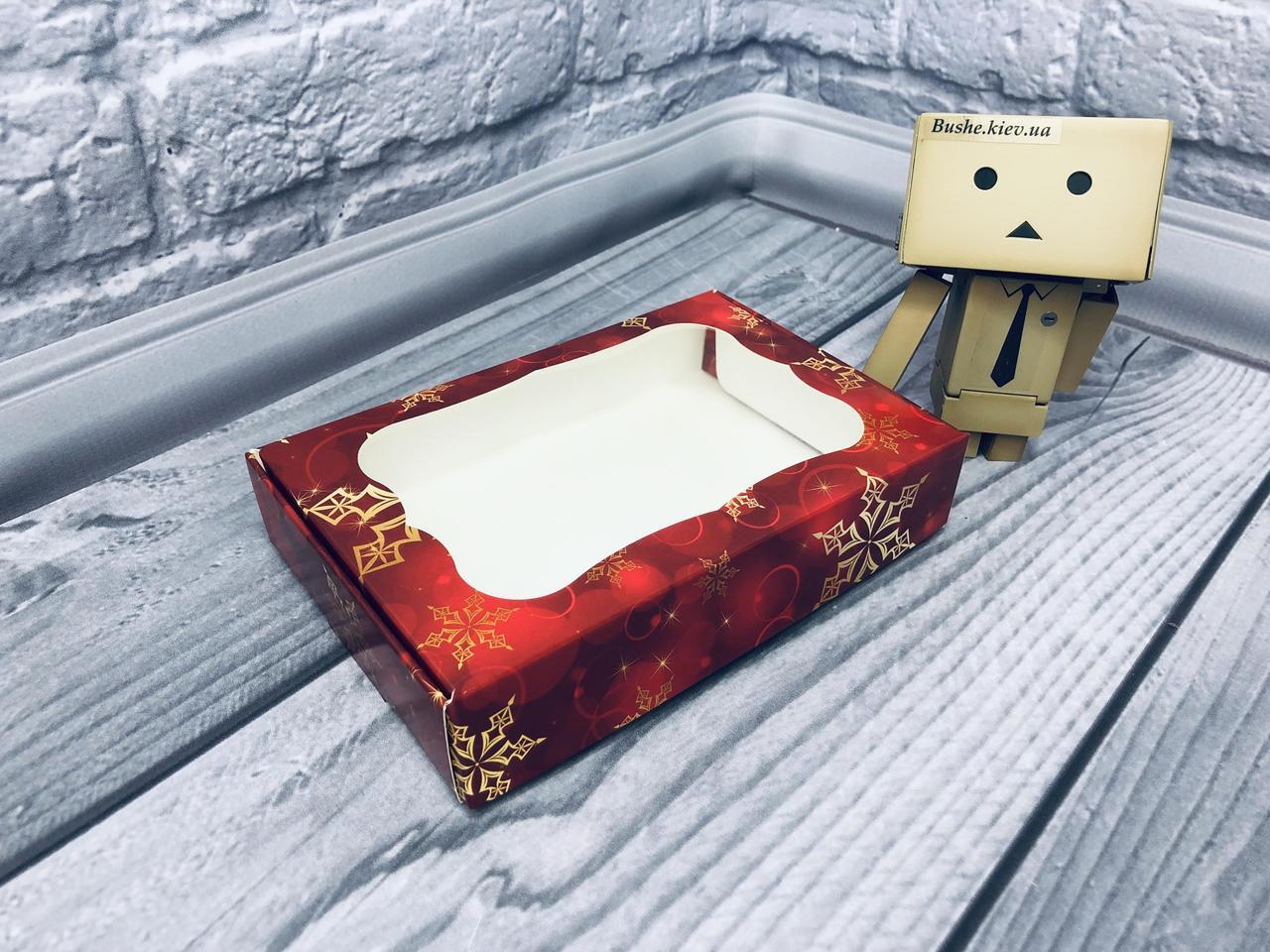 *10 шт* / Коробка для пряников / 100х150х30 мм / печать-Снег.Красн / окно-обычн / НГ