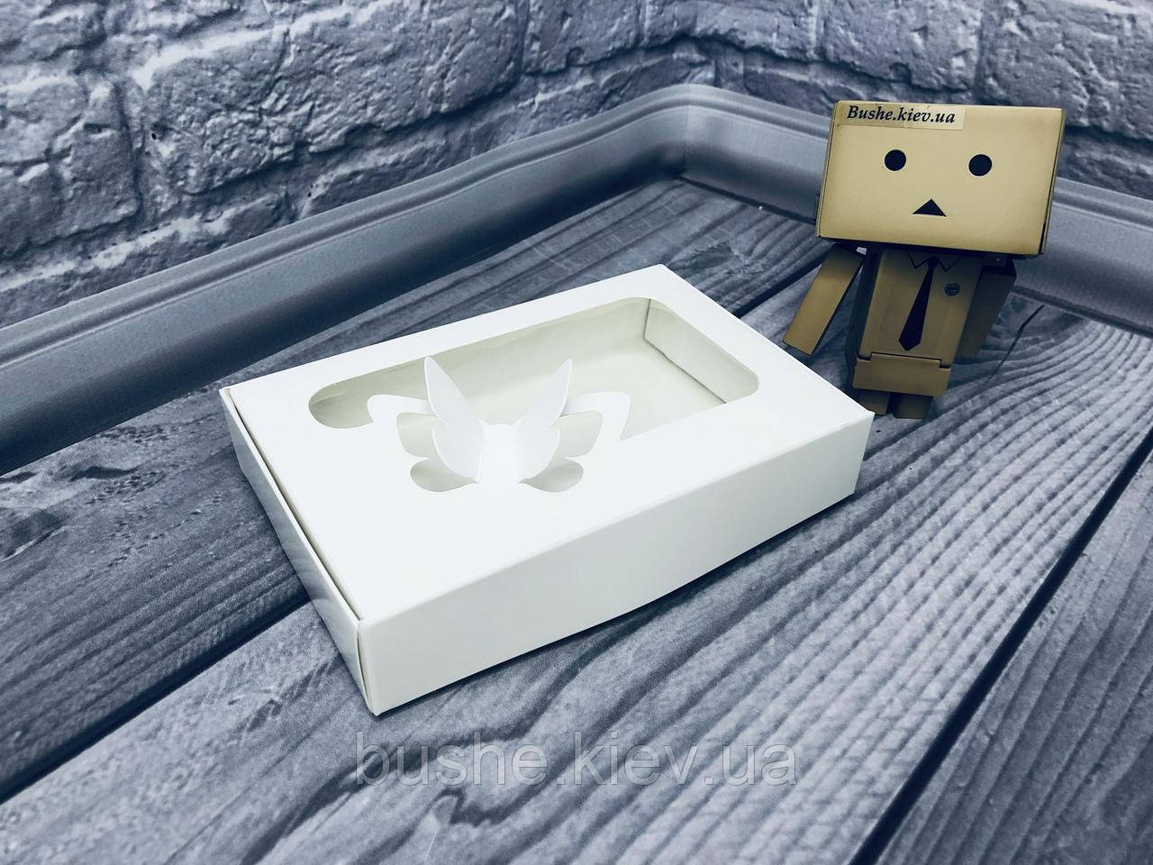 *10 шт* / Коробка для пряников / 100х150х30 мм / Белая / окно-Бабочка