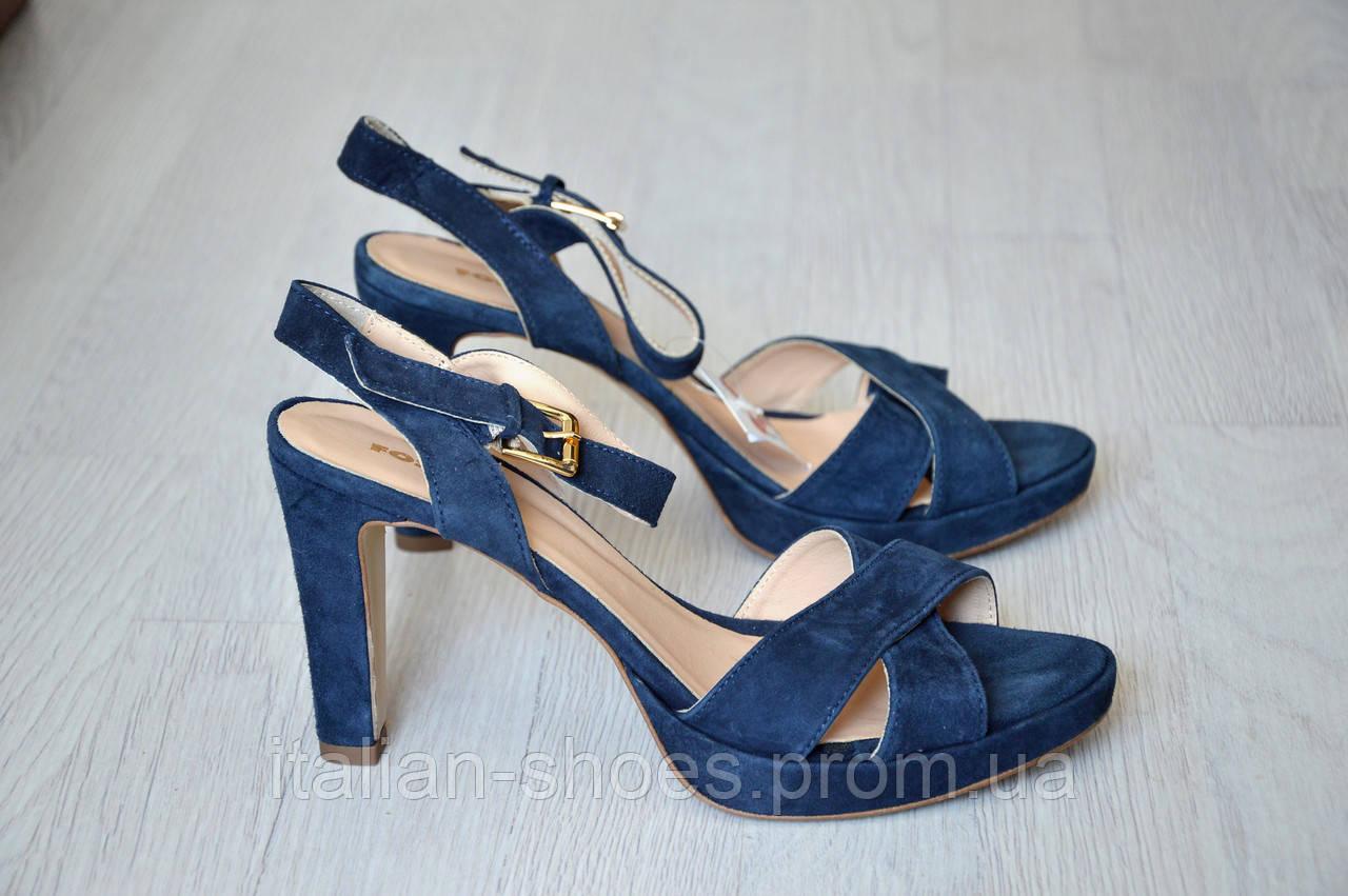 Синие замшевые босоножки Fosco