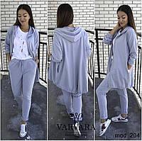 Женский спортивный костюм для прогулок (норма и батал) цвет- меланж, хаки, пудра (м. 204)