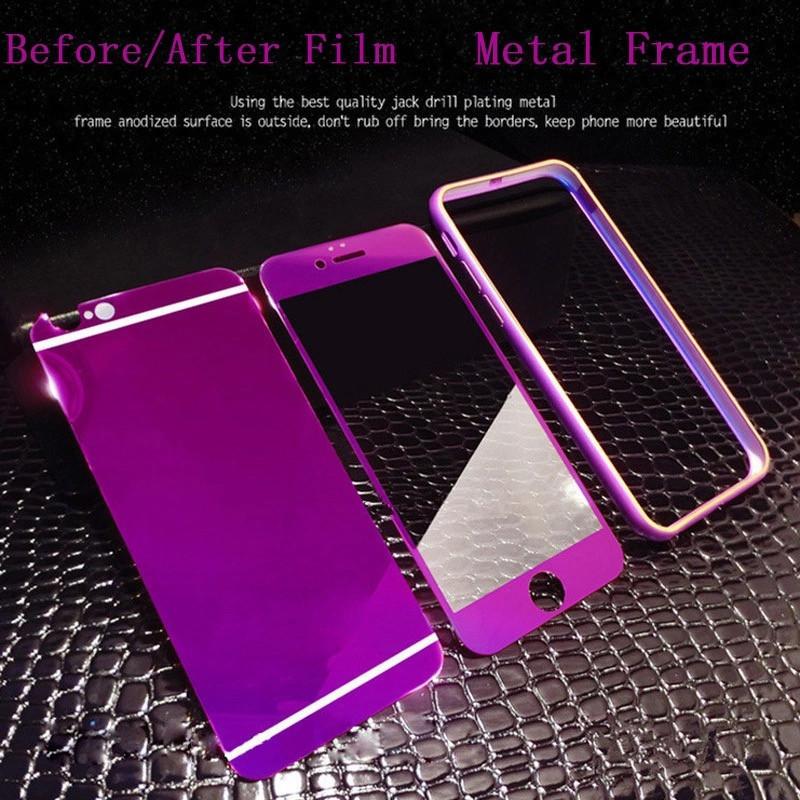Защитные Стекла для Iphone 6/6S + бампер набор , purple