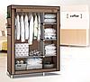 Складной тканевый шкаф 6 отделений HCX Storage Wardrobe КОРИЧНЕВЫЙ, фото 4