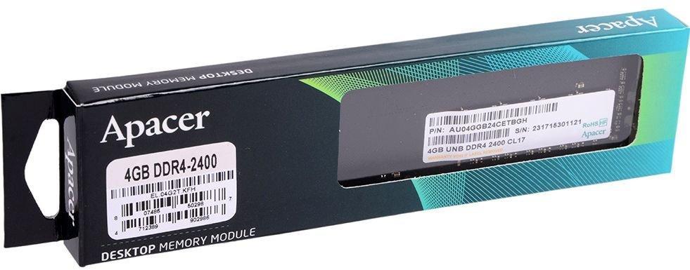 Оперативна память Apacer DDR4 RAM 4GB 2400MHz (EL.04G2T.KFH)