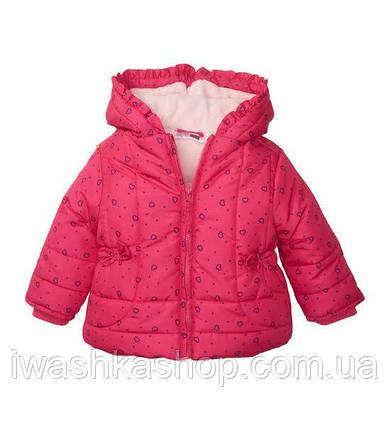 Розовая зимняя куртка в сердечки на девочку 9 - 12 месяцев, р. 80, Ergee / KIK