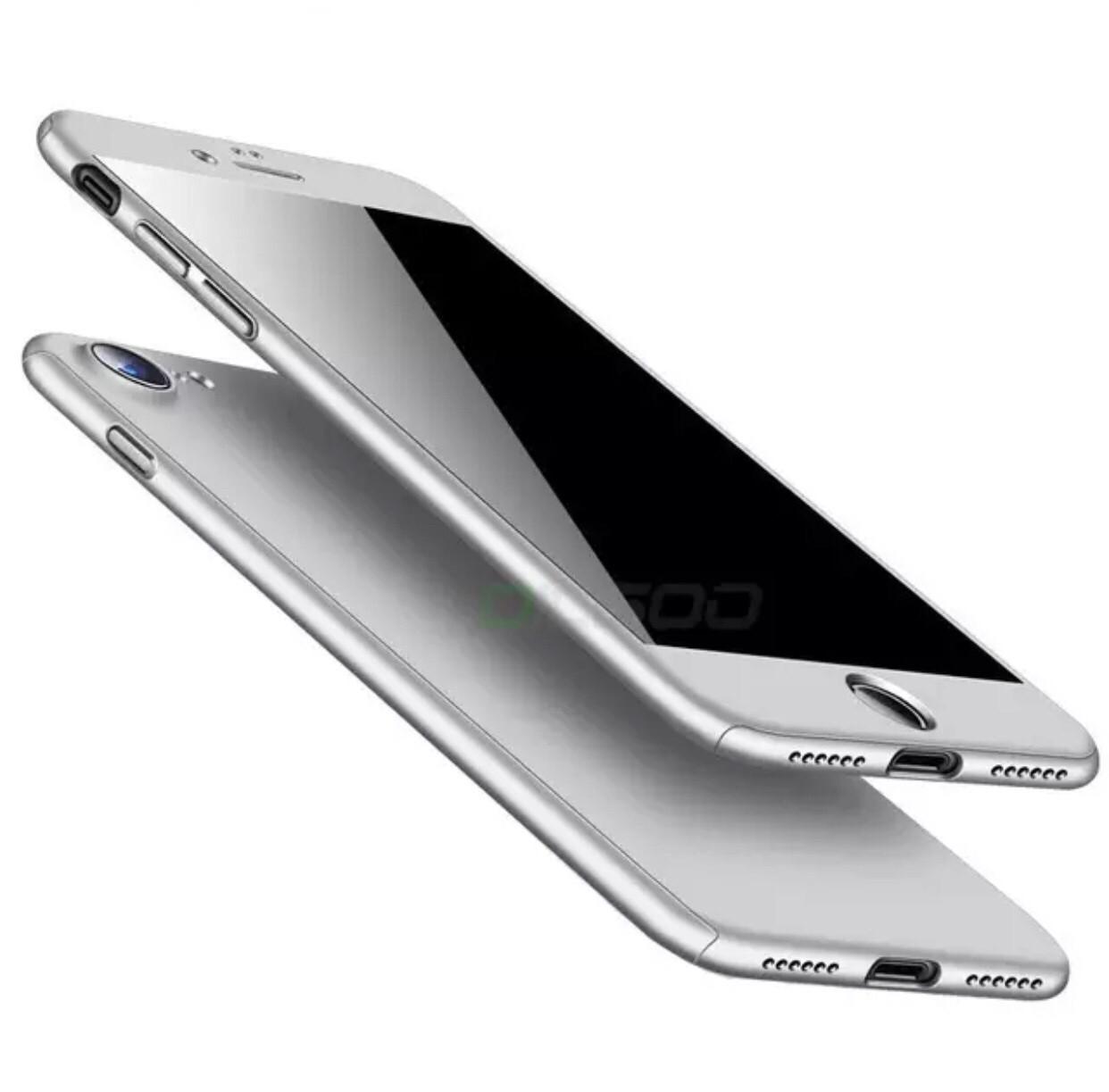 Чехол 360 градусов для Iphone 6/6S  + стекло silver