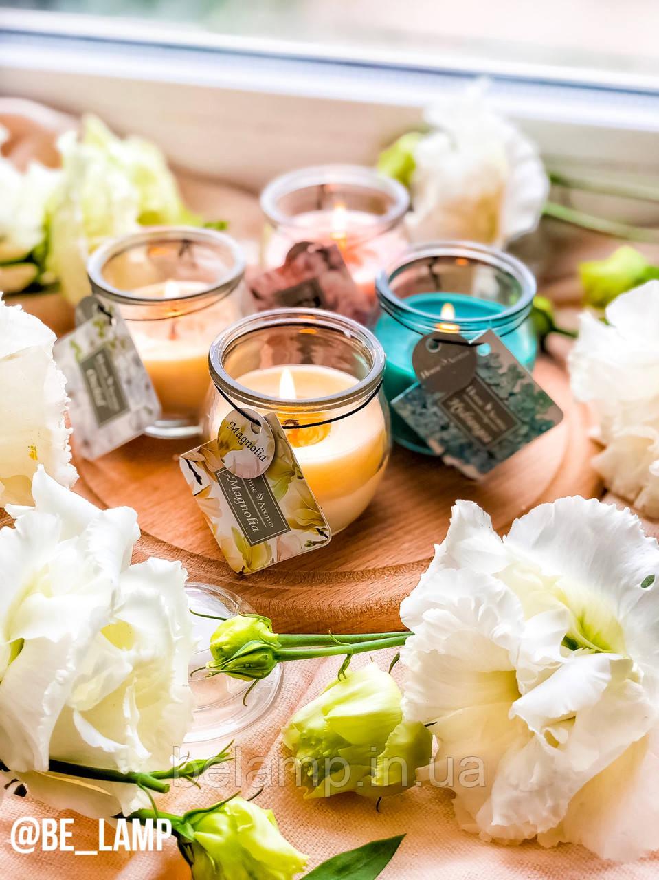 Набор из 4 цветочных свечей в баночках с крышкой