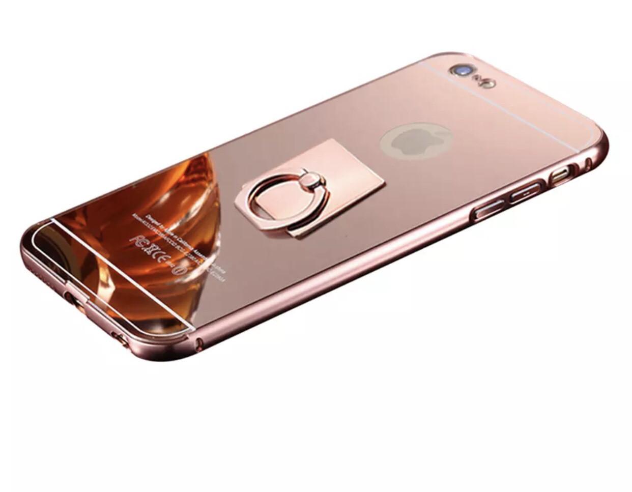 Чехол для Iphone 6 plus/6S + зеркальный + кольцо держатель , rose