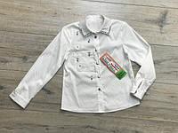 Котоновая блузка с жемчугами. 122- 146 рост.