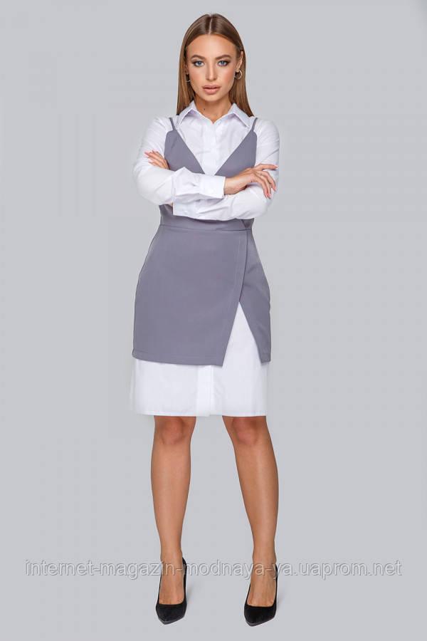 Костюм-платье+сарафан № 19-86 р. M L серый