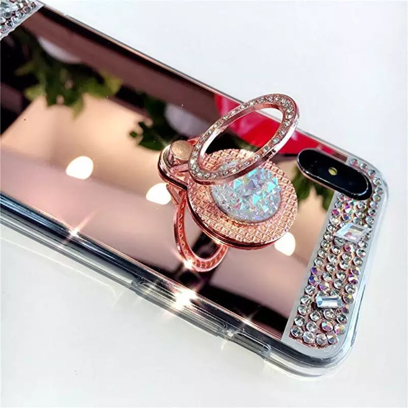 Чехол для Iphone 6/6s с камнями и кольцом-подставкой rose gold