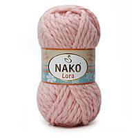 Пряжа Nako Lora 10367 розовый (нитки для вязания Нако Лора) %20 Шерсть %80 Aкрил толстая пряжа