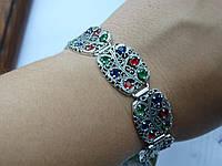 Новинка!!! Шикарный Серебряный браслет c разноцветными камнями Касабланка, фото 1