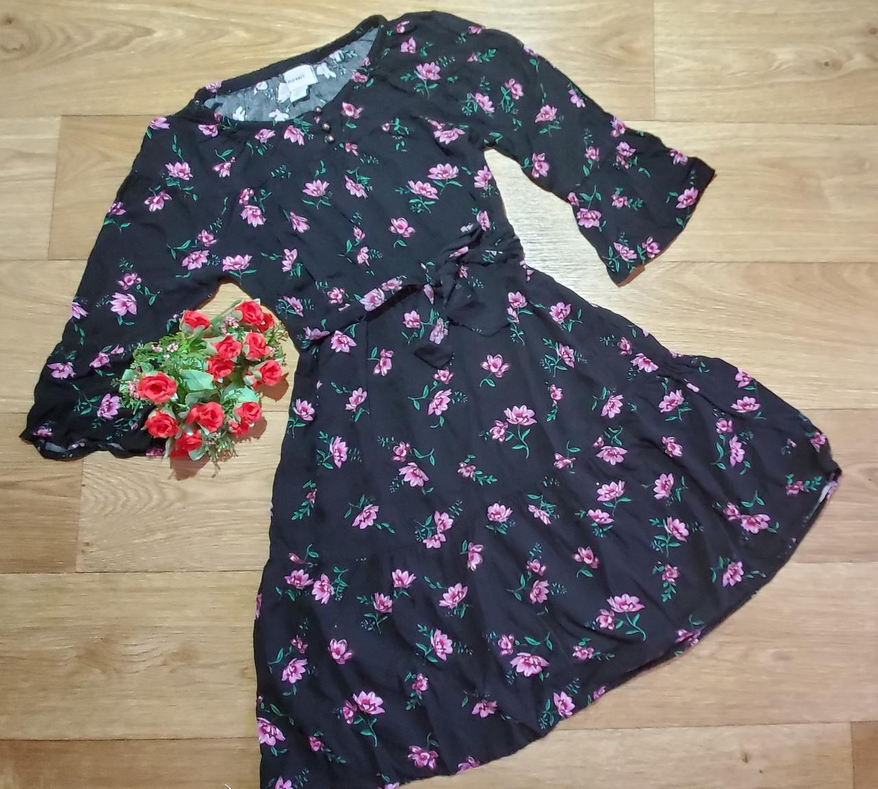 Стильное черное платье в цветочек рукав 3/4 Old Navy (США) (Размер 10-12Т)