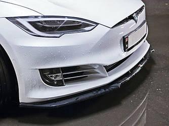 Диффузор переднего бампера губа элерон накладки тюнинг Tesla Model S рестайл