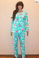 Пижама женская махровая теплая фламинго 40-58 р.