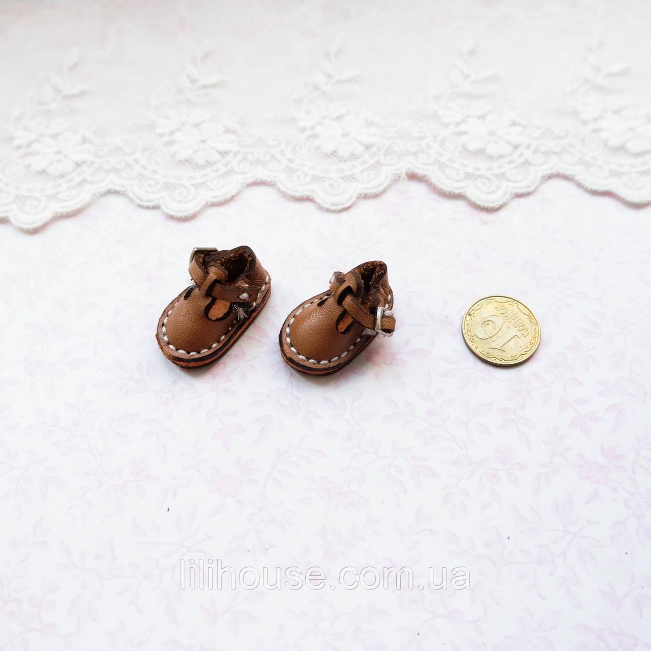 Обувь для кукол Кожаные Сандалики  25*15 мм КОРИЧНЕВЫЕ