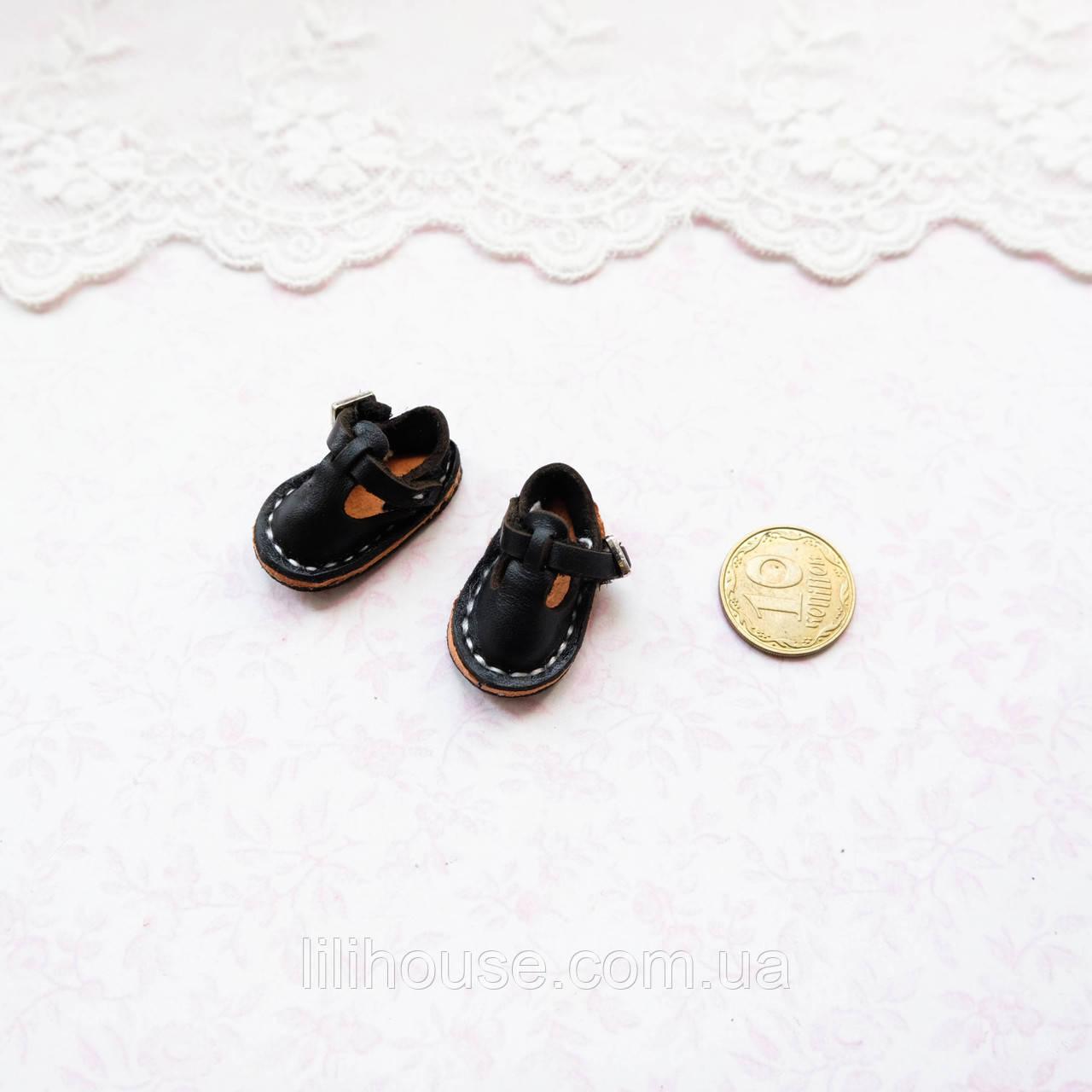 Обувь для кукол Кожаные Сандалики  25*15 мм ЧЕРНЫЕ