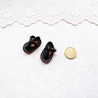 Обувь для кукол, сандалики кожаные черные - 2,5*1.5 см