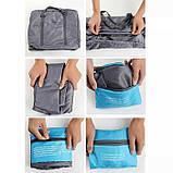 Вместительная дорожная сумка для ручной клади или багажа, складывается в мешочек, фото 7