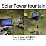 Фонтан на солнечной батарее со встроенной аккумуляторной батареей и LED подсветкой, фото 4