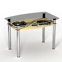 """Стеклянный кухонный стол с полкой """"Камелия"""""""