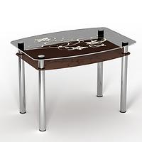 """Стеклянный стол с полкой  """"Шоколад"""""""