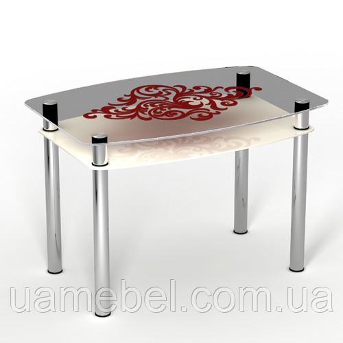 """Стеклянный кухонный стол с полкой """"Барокко"""""""