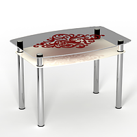 """Стеклянный кухонный стол с полкой """"Барокко"""", фото 1"""