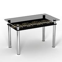"""Стеклянный стол с полкой на кухню """"Ампир"""""""