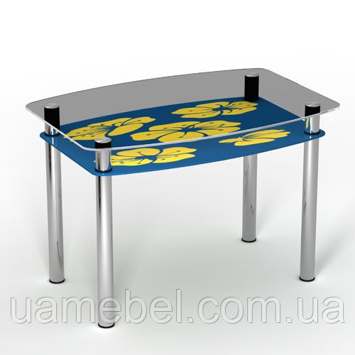 """Стеклянный кухонный стол с полкой """"Мальва"""""""